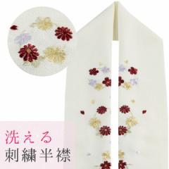 刺繍半襟 丸輪柄 桜/梅/菊 ポリエステル100% クリーム/海老茶