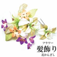 フラワー髪飾り -11- 花かんざし 2点セット 白/緑