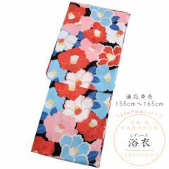 浴衣 レディース -61- 綿絽 綿100% フリーサイズ 黒色 椿 花柄