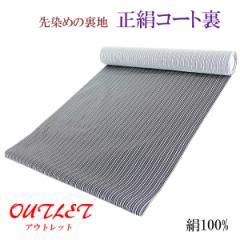 コート裏 -10- 正絹 縞 米沢 先染め 絹100% 37cm×7.95m 黒