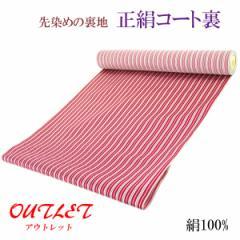 コート裏 -12- 正絹 縞 米沢 先染め 絹100% 37cm×7.95m 赤