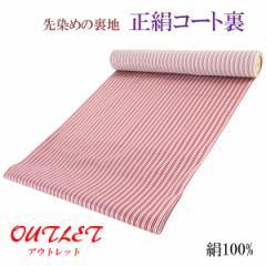コート裏 -14- 正絹 縞 米沢 先染め 絹100% 37cm×7.30m 赤