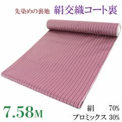 コート裏 -17- 絹交織 縞 米沢 先染め 37cm×7.58m 海老色