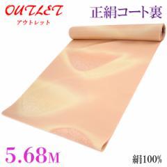 コート裏 -35- 正絹 羽二重 友禅染め 絹100% 38.5cm×5.68m 赤香