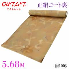 コート裏 -39- 正絹 羽二重 友禅染め 絹100% 38.5cm×5.68m 琥珀色