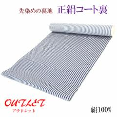 コート裏 -8- 正絹 縞 米沢 先染め 絹100% 37cm×7.30m 藍鉄色