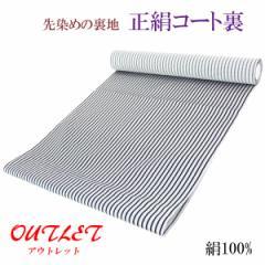 コート裏 -9B- 正絹 縞 米沢 先染め 絹100% 37cm×7.95m 黒