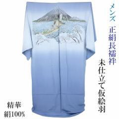 男物長襦袢 仮絵羽 正絹 -46- 広幅 精華縮緬 山水画 絹100%