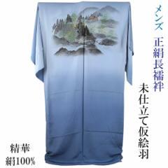 男物長襦袢 仮絵羽 正絹 -54- 広幅 精華縮緬 山水画 薄縹 絹100%