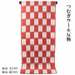 ウール反物 -13- 女性用 紬ウール 濃紅 市松/絣柄
