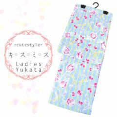 浴衣 レディース -10- 綿紅梅 綿100% フリーサイズ 水色 ピンク パステル 花柄