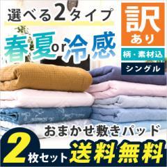 敷きパッド 2枚セット シングル 100×205cm 選べる2タイプ 春夏 or 冷感 洗える 敷きパット ※訳あり 色柄・素材込み  ベッドパッド