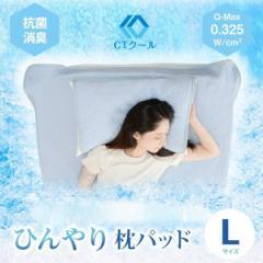 ひんやり 枕パッド Lサイズ 洗濯可能 接触冷感 夏 クール 快適 暑さ対策 抗菌防臭 ピロー 450×550mm