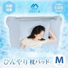ひんやり 枕パッド Mサイズ 洗濯可能 接触冷感  夏 クール 快適 暑さ対策 抗菌防臭 ピロー 350×500mm