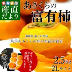 福岡県より産地直送 JA筑前あさくら あさくらの富有柿 (甘柿) ギフト向け秀品 2Lサイズ 約2.5キロ (9玉) 化粧箱入り 送料無料