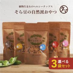 おまとめ割1袋あたり447円!そらまめっち(そら豆チップス)選べる3袋セット 植物性の栄養を楽しむソラマメ健康おやつ。塩味・ゆず味・七味