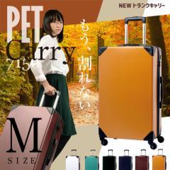 キャリーケース キャリーバッグ スーツケース Mサイズ 中型 送料無料 トランクケース 軽量 保証付 PET7156 かわいい