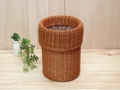 ラタン ゴミ箱 袋が見えない 丸型 アジアン 籐 カバー付き ダストボックス アジアン 部屋 籐製 おしゃれ ごみ箱 かご ミニ ラタン家具 籐