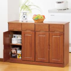 天然木 木製 桐製 カウンター ワゴン キッチンワゴン 間仕切り 4枚扉 ブラウン fam+ ファムプラス