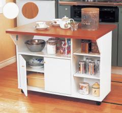 【代金引換不可】木製両バタ カウンターワゴン キッチン 対面カウンター 幅90 下収納 作業台 間仕切り 調理台