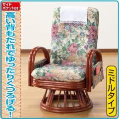 東京ラタン 天然籐リクライニングハイバック回転座椅子 サイドポケット付き ミドルタイプ