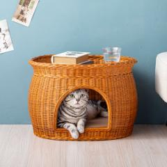 キャットハウス 猫ベッド ガラス天板 2way ガラステーブル カフェテーブル ペット用ベッド センターテーブル リビングテーブル ラタン