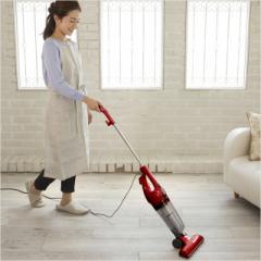 掃除機 サイクロン掃除機 スティッククリーナー 強力吸引 2WAY ハンディ 紙パック不要 車掃除 ホワイト レッド 白 赤