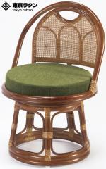 東京ラタン 天然籐 籐製 回転チェア 座椅子 ミドルタイプ アジアン