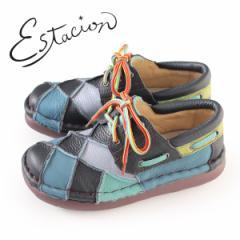 エスタシオン 靴 estacion TG154 (NV/MT) 本革 厚底 カジュアルシューズ コンフォートシューズ レディース 紐靴