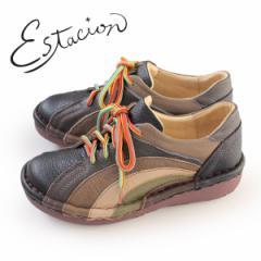 エスタシオン 靴 estacion MS820 (BL/MT) 本革 厚底 カジュアルシューズ コンフォートシューズ レディース 紐靴