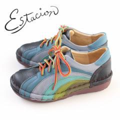 エスタシオン 靴 estacion MS820 (NV/MT) 本革 厚底 カジュアルシューズ コンフォートシューズ レディース 紐靴