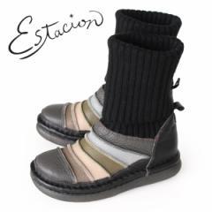 【BIGSALEクーポン対象】 エスタシオン ブーツ 靴 estacion TGE268 (BL/MT) ニットブーツ レディース ショートブーツ ニット 厚底 ロー