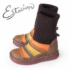 【BIGSALEクーポン対象】 エスタシオン ブーツ 靴 estacion TGE268 (BR/MT) ニットブーツ レディース ショートブーツ ニット 厚底 ロー