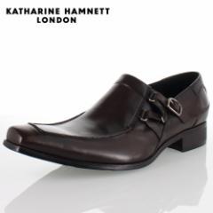 KATHARINE HAMNETT LONDON キャサリンハムネット 3970 DARKBROWN メンズ 本革 ドレスシューズ ビジネス スリッポンサイドストラップ
