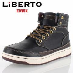 【還元祭クーポン対象】リベルトエドウィン LIBERTO EDWIN L60246 BLACK メンズ ブーツ ハイカットスニーカー 防水設計