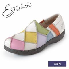 【BIGSALEクーポン対象】 エスタシオン 靴 メンズ estacion MX04 (IV/MT) 本革 スリッポン カジュアルシューズ