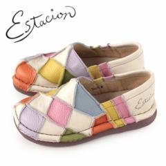 エスタシオン 靴 estacion TG025 (IV/MT) 本革 厚底 スリッポン カジュアルシューズ コンフォートシューズ レディース 白 ホワイト パ