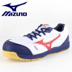 【還元祭クーポン対象】MIZUNO ミズノ オールマイティ 紐タイプ C1GA160001 ホワイト×レッド×ネイビー ワーキング スニーカー 安全靴