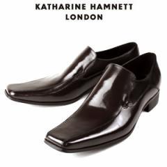 KATHARINE HAMNETT LONDON キャサリンハムネット 3946 DBR メンズ 本革 ドレスシューズ ビジネス スワールトゥ スリッポン
