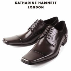 KATHARINE HAMNETT LONDON キャサリンハムネット 3947 DBR メンズ 本革 ドレスシューズ ビジネス 外羽根ストレートチップ