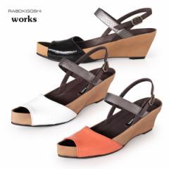 RABOKIGOSHI works サンダル 靴 ラボキゴシ ワークス 11762 本革 ローヒール ウエッジソール バックストラップ オープントゥ