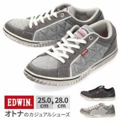 【還元祭クーポン対象】スニーカー メンズ エドウィン EDWIN EDW-7533 カジュアル 軽量 ローカット サイドキルティング ブラック グレー