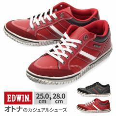 【BIGSALEクーポン対象】 スニーカー メンズ エドウィン EDWIN EDW-7537 カジュアル 軽量 ローカット ブラック レッド 通勤 通学 靴 シュ
