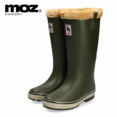 MOZ モズ MZ-9009 冬 雪 軽量 防滑 完全防水 北欧 スウェーデン 女性 レディース 雨 レイン 長靴 ブーツ 緑 カーキ ヘラジカ ボア