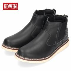 【還元祭クーポン対象】EDWIN エドウィン EDW-7931 BLACK メンズ ブーツ サイドゴア カジュアル ブラック 黒 防水設計