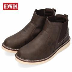 EDWIN エドウィン EDW-7931 DBROWN メンズ ブーツ サイドゴア カジュアル ブラウン 茶色 防水設計