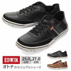 【還元祭クーポン対象】スニーカー メンズ エドウィン EDWIN EDW-7545 かかと 2way スリッポン カジュアル 軽量 ローカット ブラック ブ