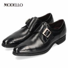 【BIGSALEクーポン対象】 マドラス モデロ madras MODELLO DM8603 ブラック メンズ ビジネスシューズ モンクストラップ メダリオン 防水