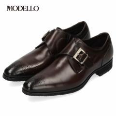 【BIGSALEクーポン対象】 マドラス モデロ madras MODELLO DM8603 ダークブラウン メンズ ビジネスシューズ モンクストラップ メダリオン
