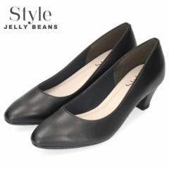 STYLE JELLY BEANS ジェリービーンズ パンプス 靴 レディース 4491 日本製 アーモンドトゥ プレーン リクルート 黒 ブラック 大きいサイ